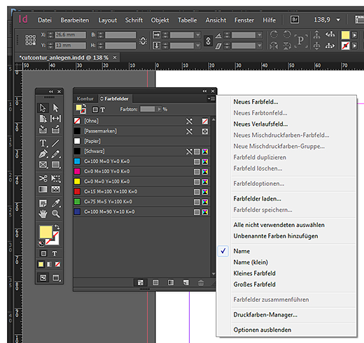 Neues Farbfeld in InDesign anlegen