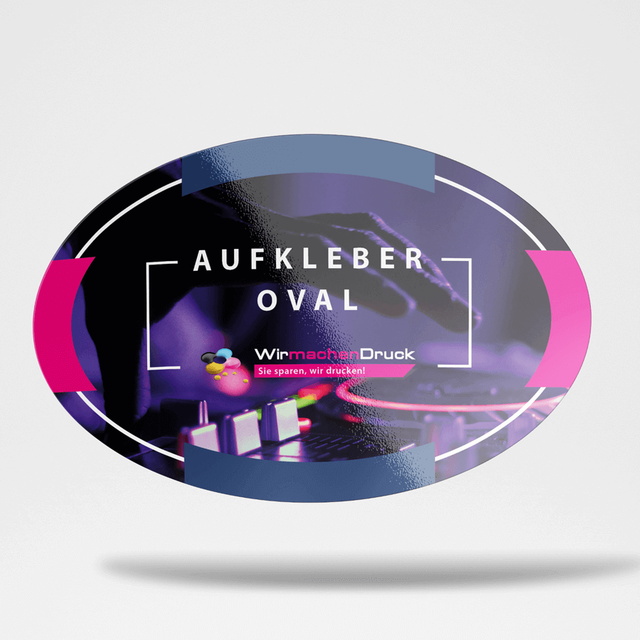 Frontansicht Aufkleber oval
