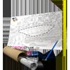CAD Plan bedruckt mit Stift Lineal und Verpackung