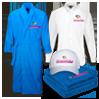 Bademantel Hemd Cap Handtücher bestickt und bedruckt