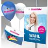Wahlwerbung mit Beispiel Wahlplakat Luftballon bedruckt und Aufkleber Sticker